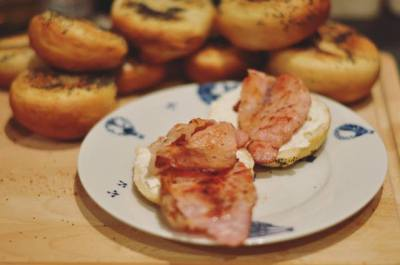 Bagels, bacon and cream cheese